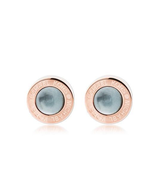 Michael Kors - Pink Logo Pvd Rose Goldtone Stainless Steel Stud Earrings - Lyst
