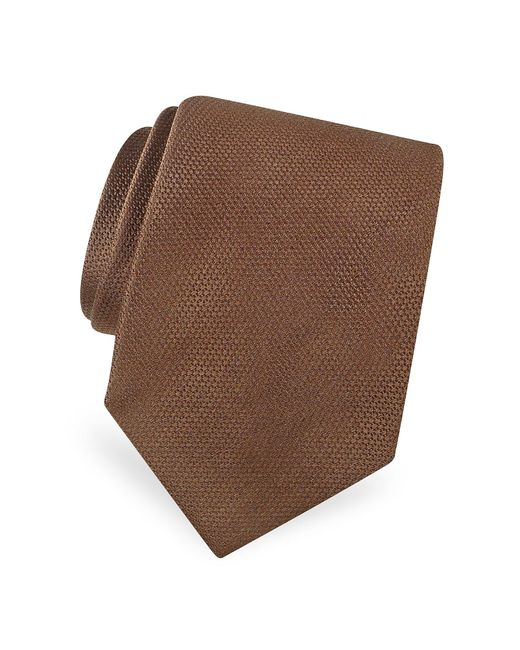 FORZIERI   Brown Gold Line Solid Woven Silk Tie for Men   Lyst