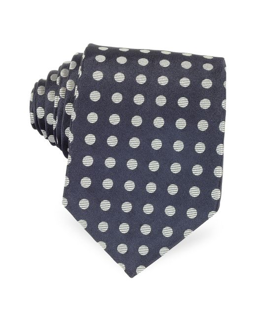 Forzieri | Dark Blue With Gray Large Woven Dots Men's Pure Silk Tie for Men | Lyst