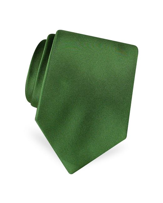 FORZIERI   Green Solid Pure Silk Satin Silk Tie for Men   Lyst