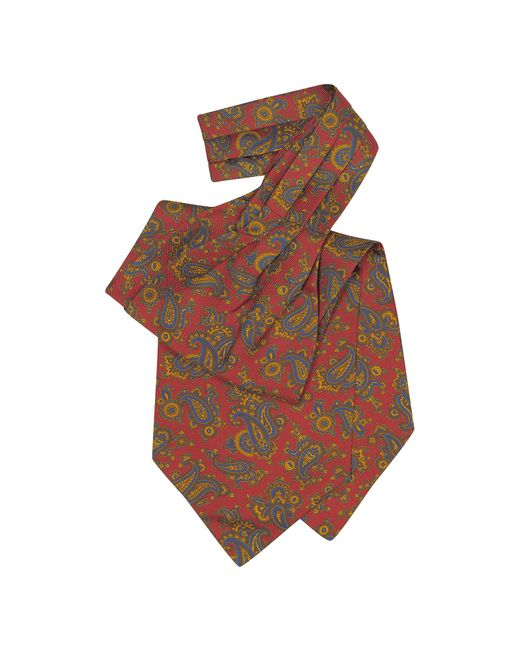 Forzieri | Red Large Paisley Print Silk Ascot for Men | Lyst