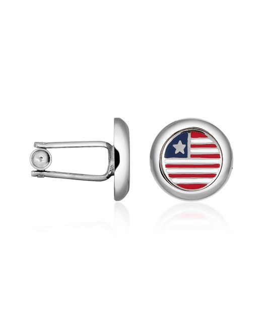 FORZIERI | Metallic Stars  Stripes Us Flag Silver Plated Round Cuff Links for Men | Lyst