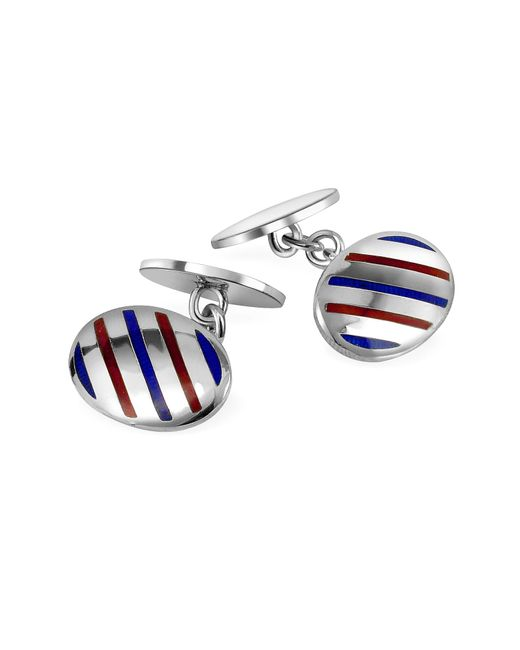 FORZIERI | Metallic Oval Striped Sterling Silver Double Sided Cufflinks for Men | Lyst