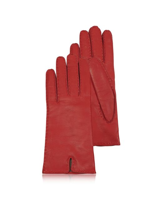 FORZIERI | Women's Cashmere Lined Red Italian Leather Gloves | Lyst