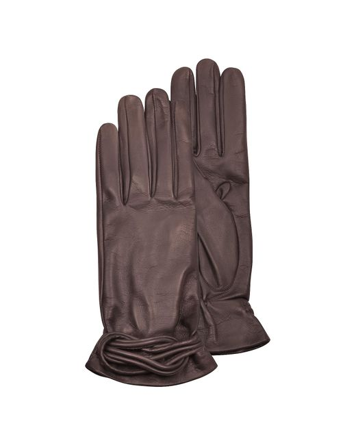 FORZIERI | Women's Brown Leather Gloves W/knot | Lyst