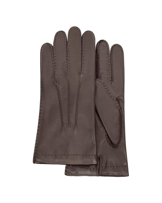 FORZIERI | Men's Cashmere Lined Dark Brown Italian Leather Gloves for Men | Lyst