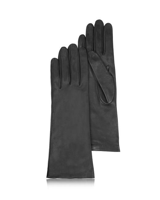 FORZIERI | Women's Silk Lined Black Italian Leather Long Gloves | Lyst