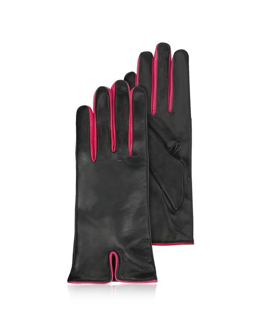 FORZIERI | Black & Fuchsia Cashmere Lined Leather Ladies' Gloves | Lyst