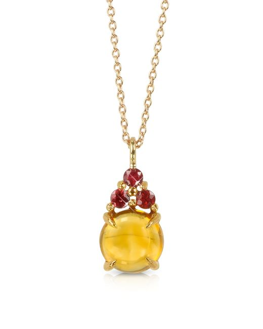 Mia & Beverly - Multicolor Citrine Quartz And Red Sapphires 18k Rose Gold Pendant Necklace - Lyst