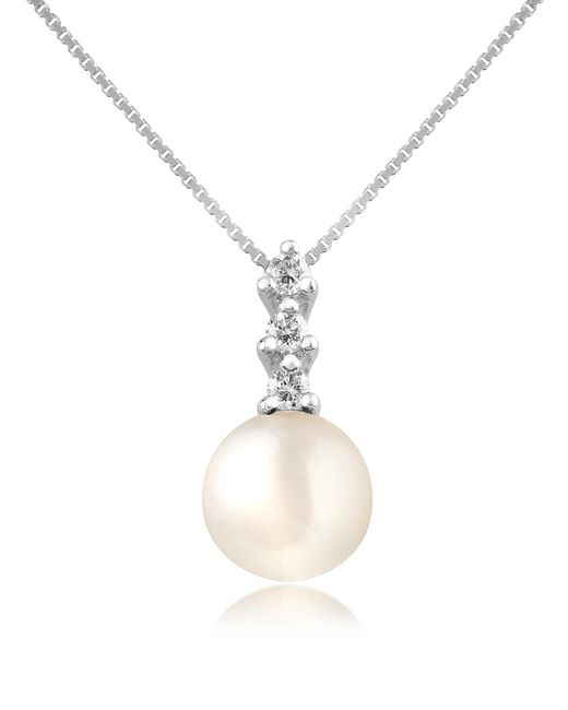 FORZIERI | White Diamond And Pearl Pendant 18k Gold Necklace | Lyst