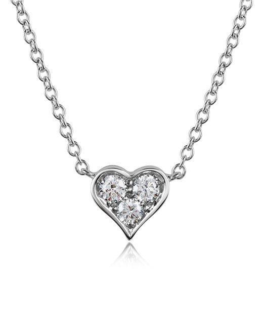 Forzieri   White 0.31 Ct Diamond Heart Pendant Necklace   Lyst