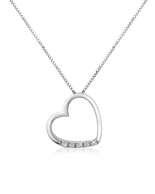 FORZIERI | Metallic 0.03 Ct Diamond Floating Heart 18k Gold Necklace | Lyst