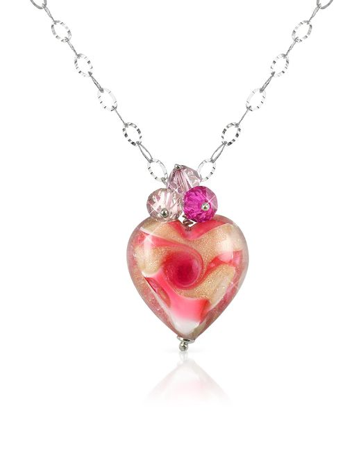 House of Murano | Multicolor Vortice - Pink Murano Glass Swirling Heart Sterling Silver Necklace | Lyst