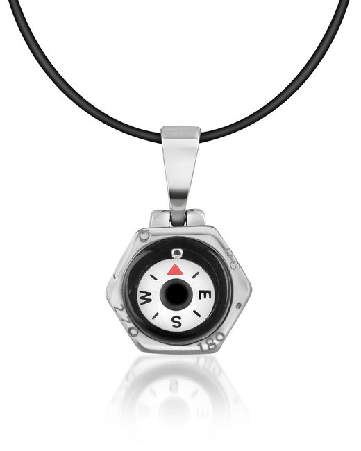 FORZIERI | Gray Stainless Steel Compass Pendant W/rubber Necklace for Men | Lyst