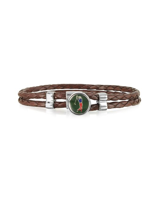FORZIERI | Green Golfer Metal And Leather Men's Bracelet for Men | Lyst