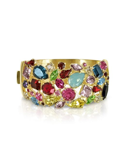 FORZIERI | Metallic Gold Plated Metal Bangle W/crystals | Lyst
