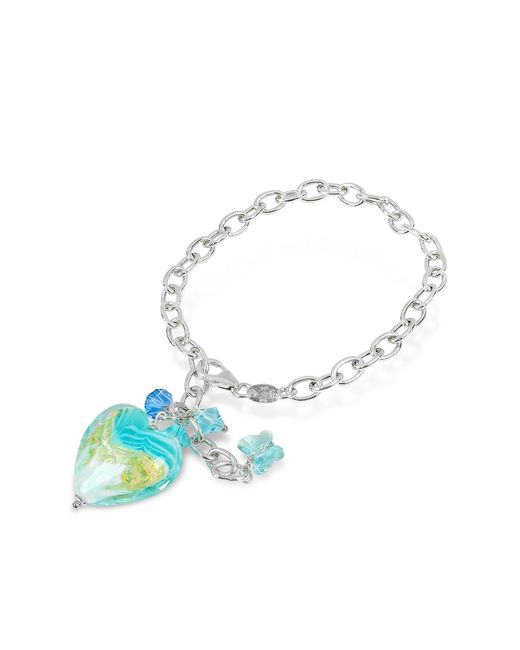 House of Murano | Blue Mare - Turquoise Murano Glass Heart Charm Sterling Silver Bracelet | Lyst
