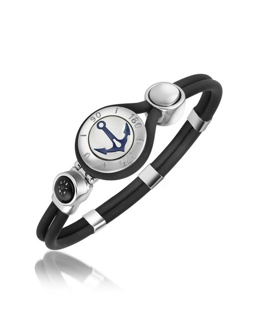FORZIERI | Black Anchor & Compass Stainless Steel And Rubber Bracelet for Men | Lyst