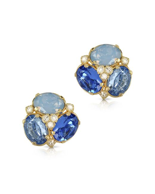 FORZIERI | Blue Crystal Clip-on Earrings | Lyst