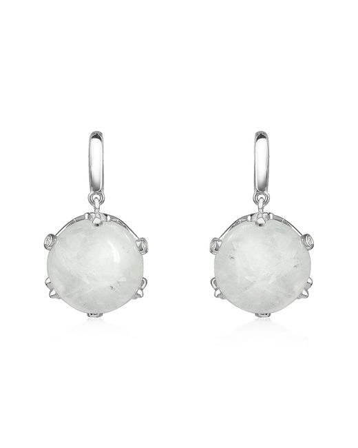 Mia & Beverly | White Spectrolite And Diamond 18k Gold Earrings | Lyst