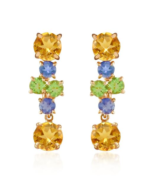 FORZIERI | Metallic Amethyst And Citrine Flower 18k Gold Earrings | Lyst