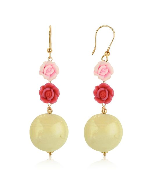 House of Murano | Pink Rose Murano Glass Drop Earrings | Lyst