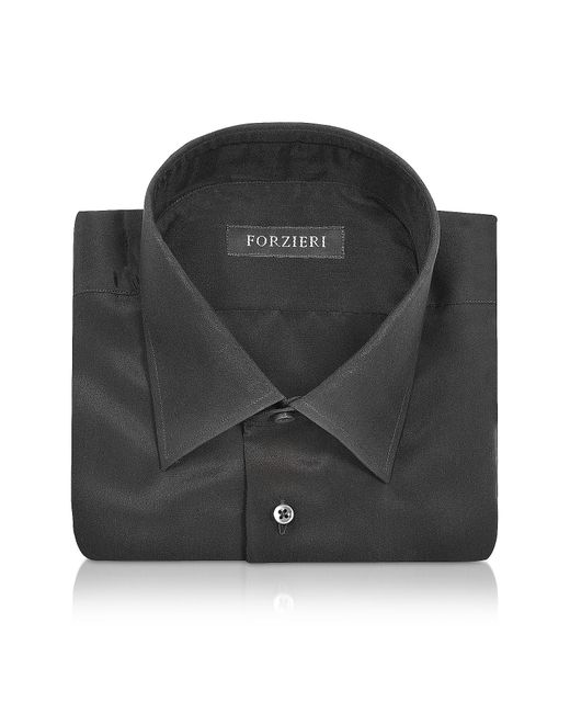 FORZIERI   Dramatic Black Pure Silk Dress Shirt for Men   Lyst