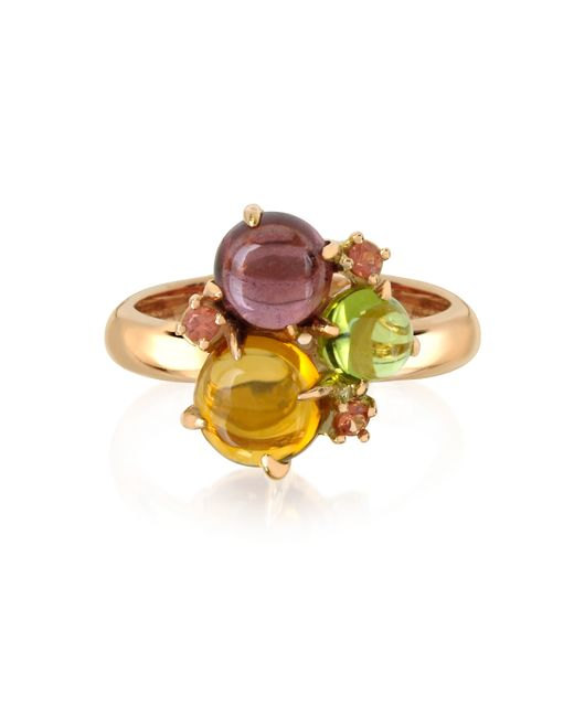 Mia & Beverly | Red Gemstones 18k Rose Gold Ring | Lyst