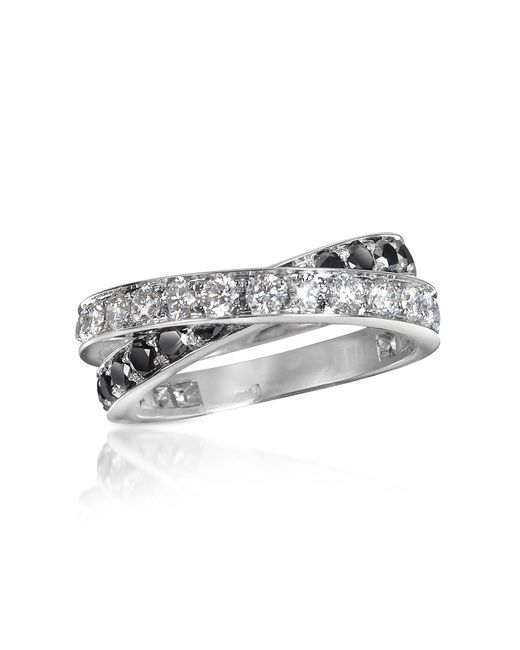 FORZIERI | Black & White Diamond Crossover 18k Gold Ring | Lyst