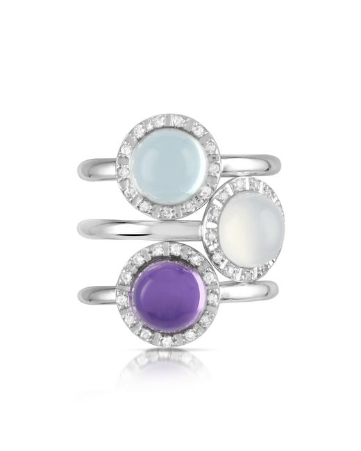 Mia & Beverly | Gemstone And Diamond 18k White Gold Ring | Lyst