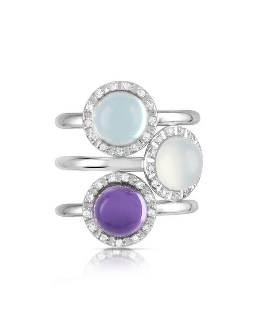 Mia & Beverly - Gemstone And Diamond 18k White Gold Ring - Lyst