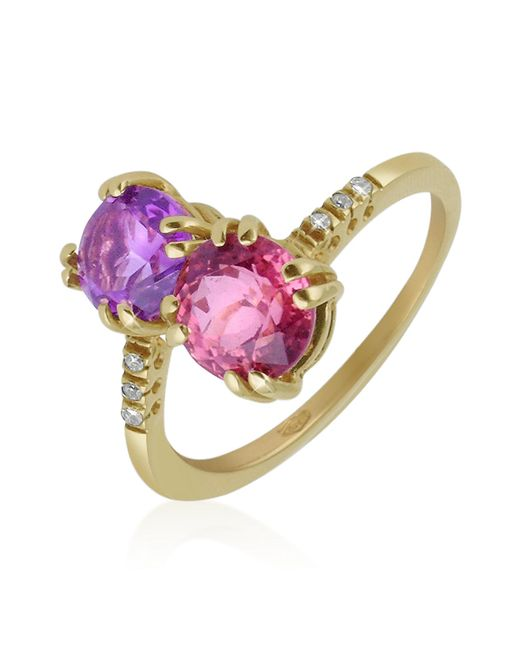 FORZIERI | Purple Double Gemstone And Diamond Yellow Gold Ring | Lyst