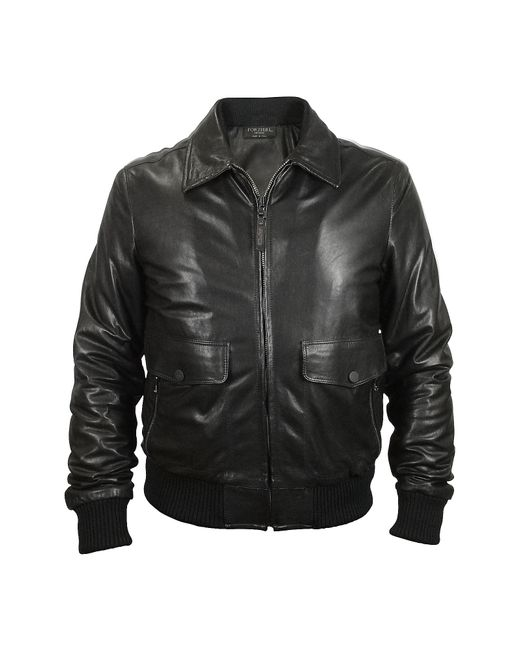 FORZIERI | Men's Black Leather Motorcycle Jacket for Men | Lyst