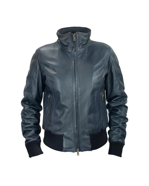 FORZIERI | Women's Blue Leather Motorcycle Jacket | Lyst