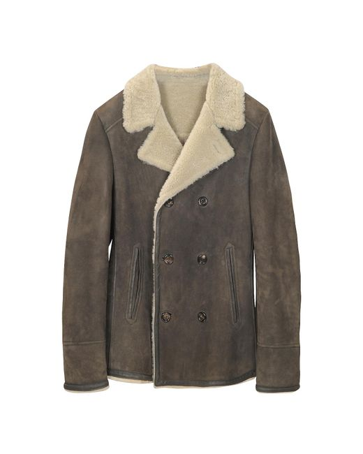 FORZIERI | Brown Double Breasted Shearling Jacket for Men | Lyst