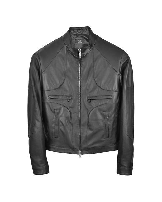 FORZIERI | Black Italian Leather Motorcycle Zip Jacket for Men | Lyst