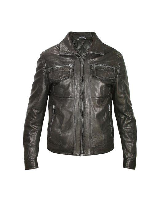 FORZIERI | Men's Black Genuine Leather Motorcycle Jacket for Men | Lyst