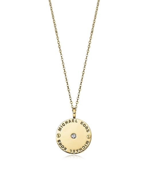 Michael Kors | Metallic Heritage Signature Charm W/crystal Necklace | Lyst