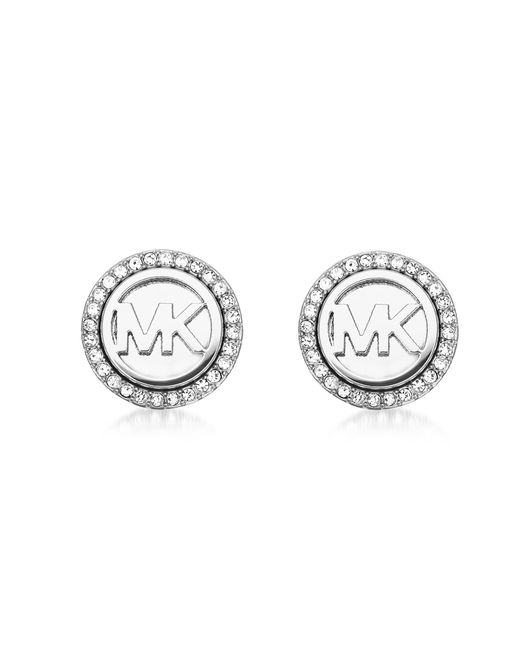Michael Kors | Metallic Logo Silvertone Stainless Steel Stud Earrings | Lyst