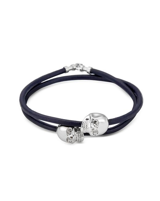 Northskull | Metallic Navy Blue Leather W/rhodium Skull Double Wrap Bracelet for Men | Lyst