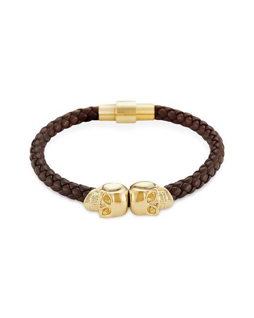 Northskull | Brown Nappa Leather/ 18kt. Gold Twin Skull Bracelet for Men | Lyst