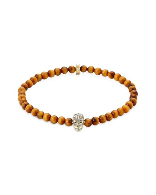 Northskull | Yellow Tiger Eye Golden & Clear Crystal Micro Skull Bracelet for Men | Lyst