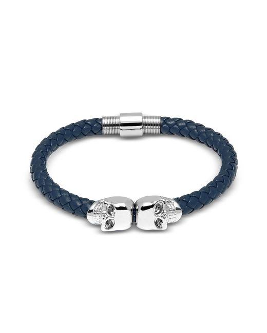 Northskull | Denim Blue Nappa Leather W/ Silver Twin Skull Bracelet | Lyst