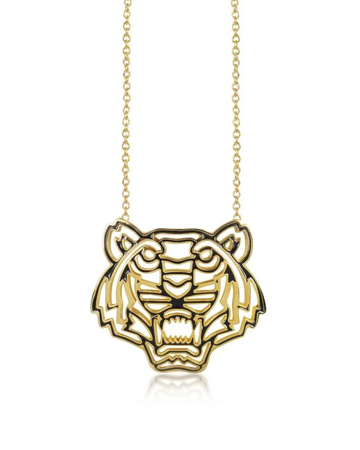 KENZO | Metallic Gold Plated And Black Lacquer Tiger Head Necklace | Lyst