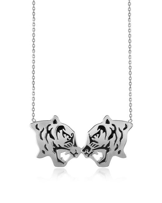 KENZO | Metallic Rhodium Silver And Black Lacquer Fighting Tiger Necklace | Lyst