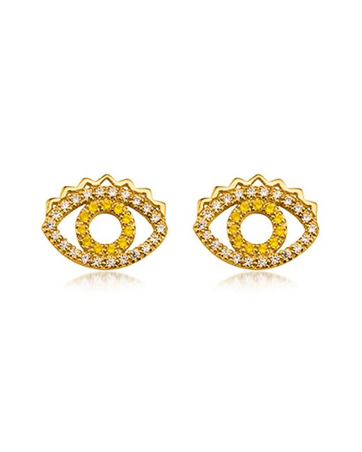 KENZO | Metallic Goldtone Mini Eye Earrings W/crystals | Lyst