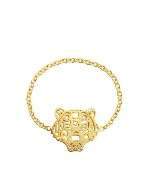 KENZO | Metallic Gold Plated Mini Tiger Ring | Lyst