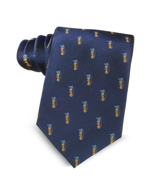Marina D'este - Golf Bag Light Blue Woven Silk Men's Tie for Men - Lyst