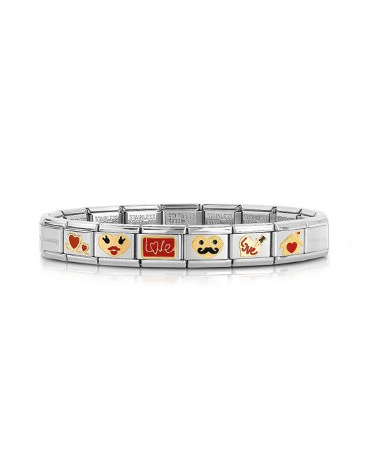 Nomination | Metallic Stainless Steel Bracelet W/golden Love Emoticons | Lyst