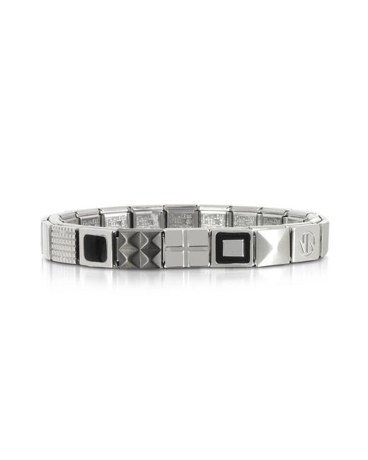 Nomination | Metallic Steel Ikons Black Enamel And Brushed Stainless Steel Bracelet for Men | Lyst